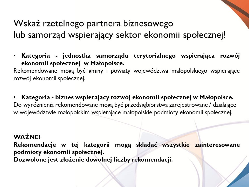 Wskaż rzetelnego partnera biznesowego lub samorząd wspierający sektor ekonomii społecznej! Kategoria - jednostka samorządu terytorialnego wspierająca