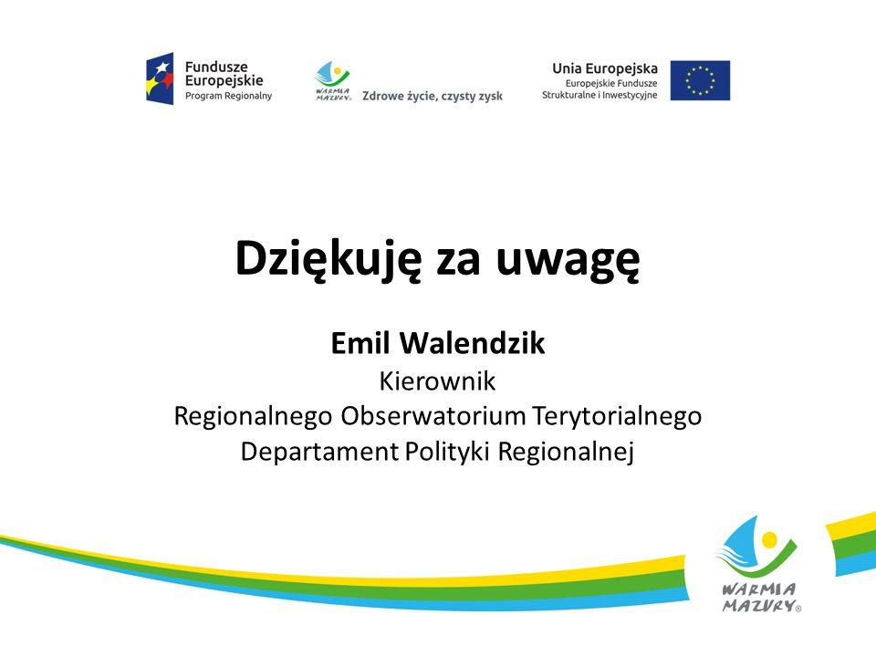 Dziękuję za uwagę Emil Walendzik Kierownik Regionalnego Obserwatorium Terytorialnego Departament Polityki Regionalnej