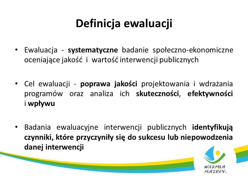 Definicja ewaluacji Ewaluacja - systematyczne badanie społeczno-ekonomiczne oceniające jakość i wartość interwencji publicznych Cel ewaluacji - popraw