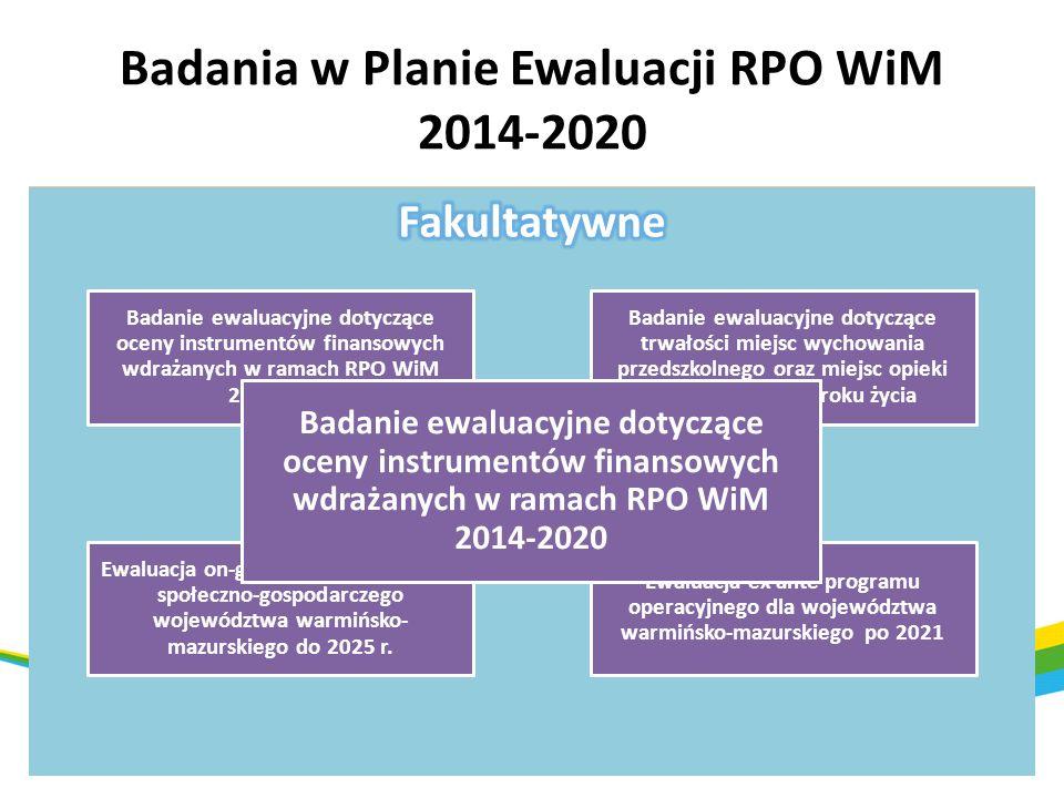 Badania w Planie Ewaluacji RPO WiM 2014-2020 Ewaluacja kryteriów i systemu wyboru projektów RPO WiM 2014- 2020 Ocena systemu realizacji RPO WiM 2014-2
