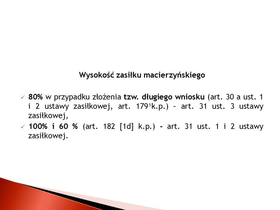 Wysokość zasiłku macierzyńskiego 80% w przypadku złożenia tzw. długiego wniosku (art. 30 a ust. 1 i 2 ustawy zasiłkowej, art. 179¹k.p.) – art. 31 ust.