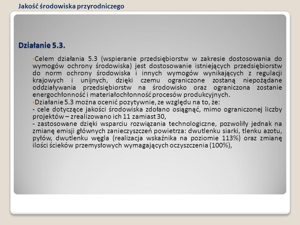 Działanie 5.3. Celem działania 5.3 (wspieranie przedsiębiorstw w zakresie dostosowania do wymogów ochrony środowiska) jest dostosowanie istniejących p