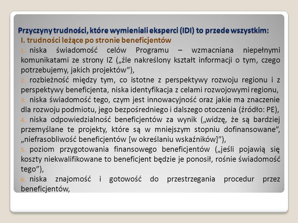 Przyczyny trudności, które wymieniali eksperci (IDI) to przede wszystkim: I. trudności leżące po stronie beneficjentów 1. niska świadomość celów Progr