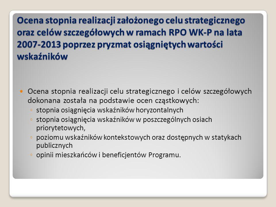 Ocena stopnia realizacji założonego celu strategicznego oraz celów szczegółowych w ramach RPO WK-P na lata 2007-2013 poprzez pryzmat osiągniętych wart