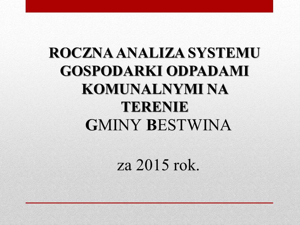 ROCZNA ANALIZA SYSTEMU GOSPODARKI ODPADAMI KOMUNALNYMI NA TERENIE GMINY BESTWINA za 2015 rok.