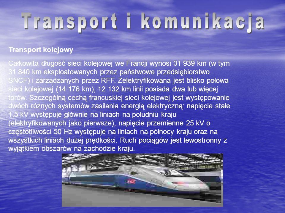 Transport kolejowy Całkowita długość sieci kolejowej we Francji wynosi 31 939 km (w tym 31 840 km eksploatowanych przez państwowe przedsiębiorstwo SNC