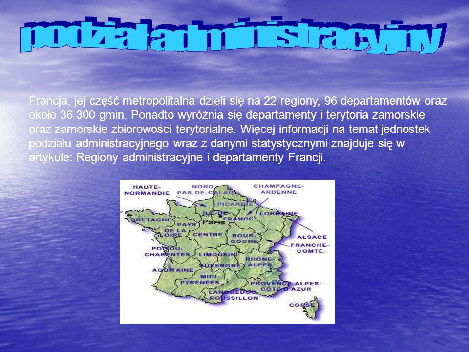 Francja, jej część metropolitalna dzieli się na 22 regiony, 96 departamentów oraz około 36 300 gmin. Ponadto wyróżnia się departamenty i terytoria zam