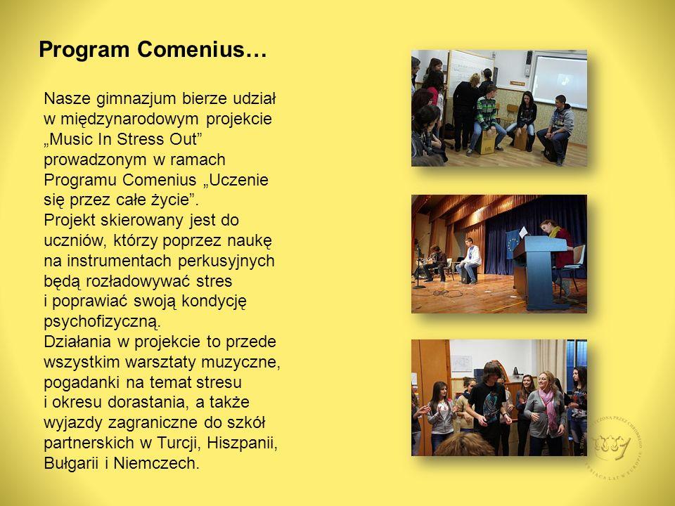"""Program Comenius… Nasze gimnazjum bierze udział w międzynarodowym projekcie """"Music In Stress Out prowadzonym w ramach Programu Comenius """"Uczenie się przez całe życie ."""