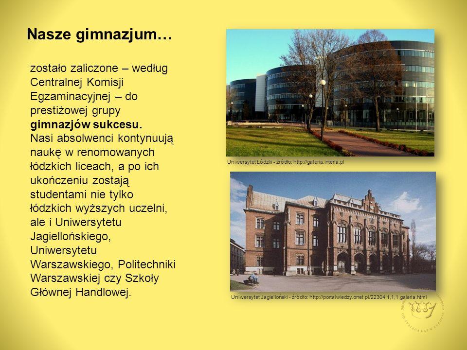 Nasze gimnazjum… zostało zaliczone – według Centralnej Komisji Egzaminacyjnej – do prestiżowej grupy gimnazjów sukcesu.