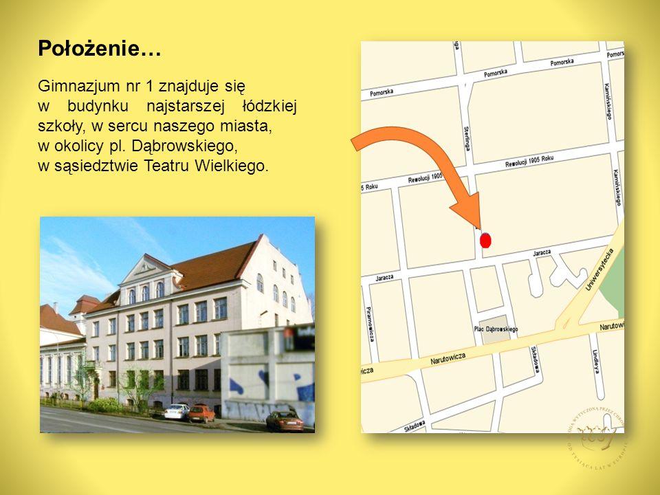 Gimnazjum nr 1 znajduje się w budynku najstarszej łódzkiej szkoły, w sercu naszego miasta, w okolicy pl.