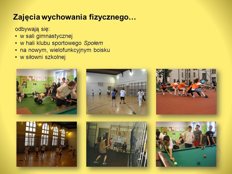 odbywają się: w sali gimnastycznej w hali klubu sportowego Społem na nowym, wielofunkcyjnym boisku w siłowni szkolnej Zajęcia wychowania fizycznego…