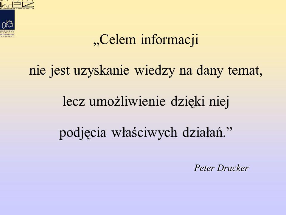 """""""Celem informacji nie jest uzyskanie wiedzy na dany temat, lecz umożliwienie dzięki niej podjęcia właściwych działań."""" Peter Drucker"""