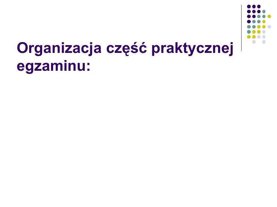 Organizacja część praktycznej egzaminu: