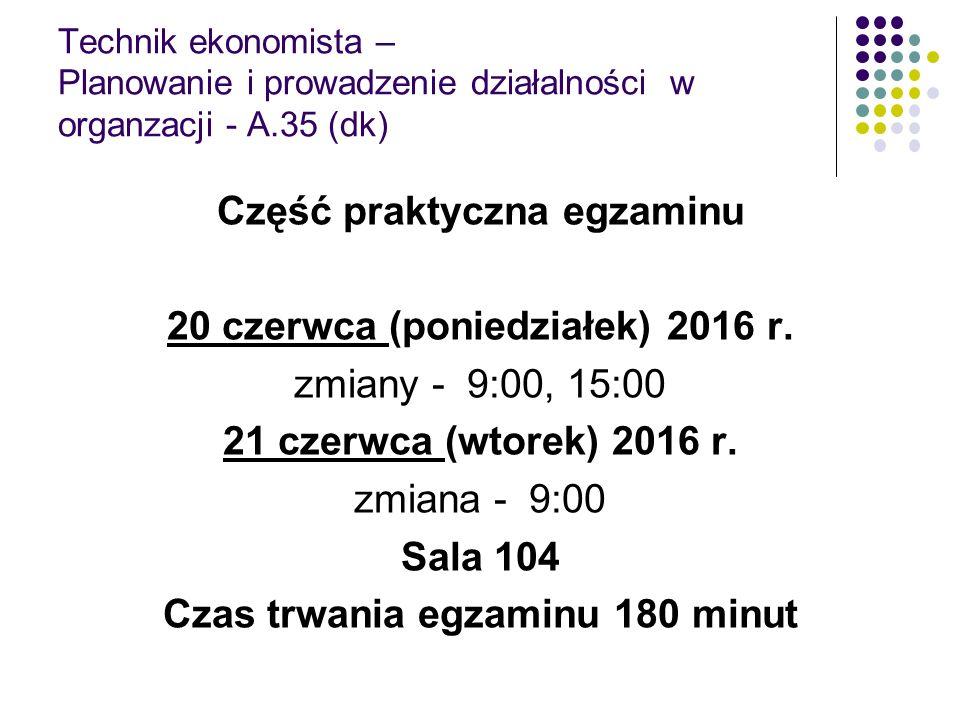 Technik ekonomista – Planowanie i prowadzenie działalności w organzacji - A.35 (dk) Część praktyczna egzaminu 20 czerwca (poniedziałek) 2016 r. zmiany