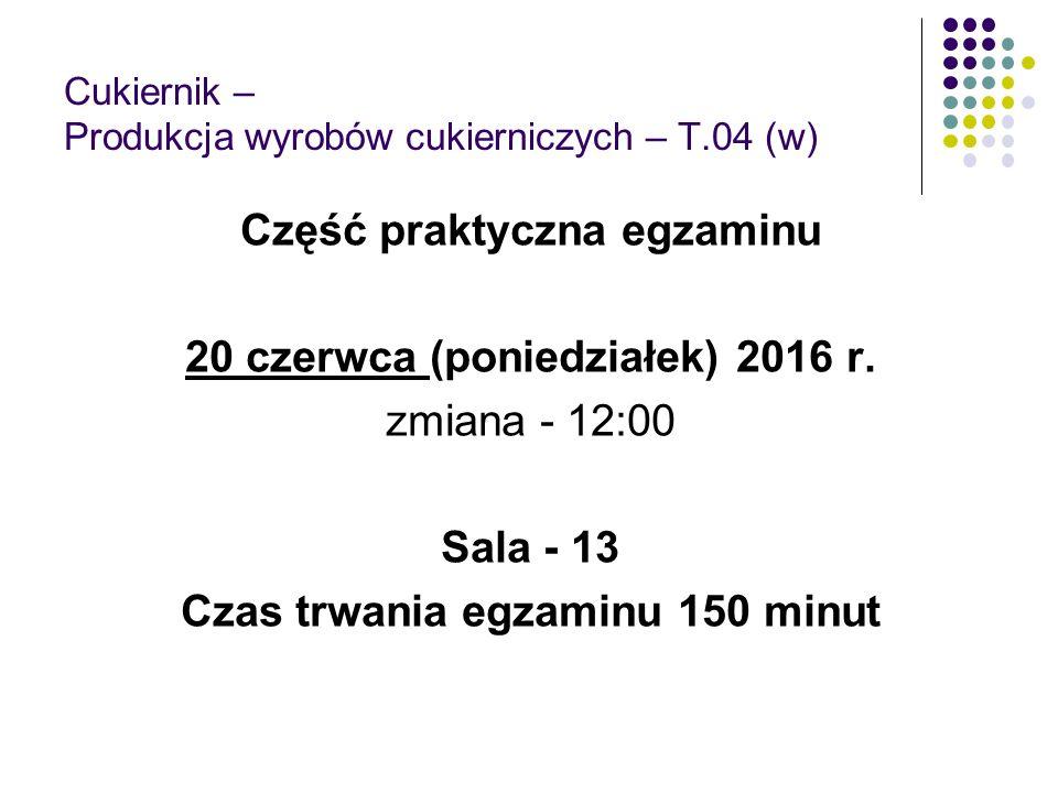Cukiernik – Produkcja wyrobów cukierniczych – T.04 (w) Część praktyczna egzaminu 20 czerwca (poniedziałek) 2016 r. zmiana - 12:00 Sala - 13 Czas trwan