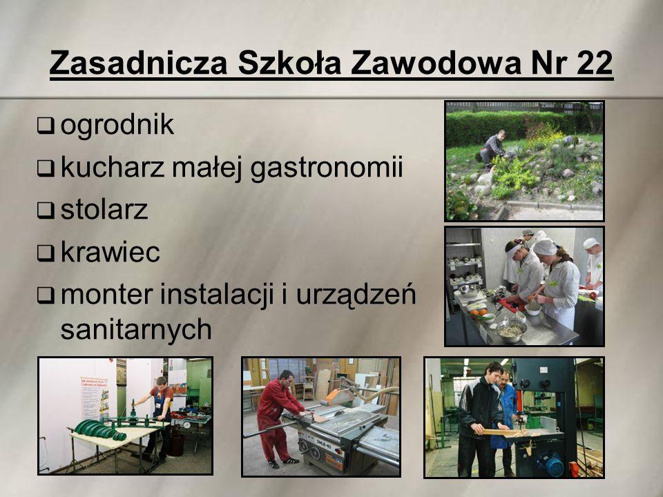 Zasadnicza Szkoła Zawodowa Nr 22  ogrodnik  kucharz małej gastronomii  stolarz  krawiec  monter instalacji i urządzeń sanitarnych