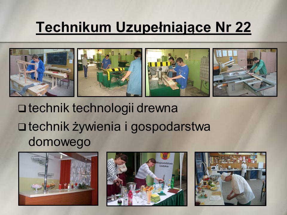 Technikum Uzupełniające Nr 22  technik technologii drewna  technik żywienia i gospodarstwa domowego