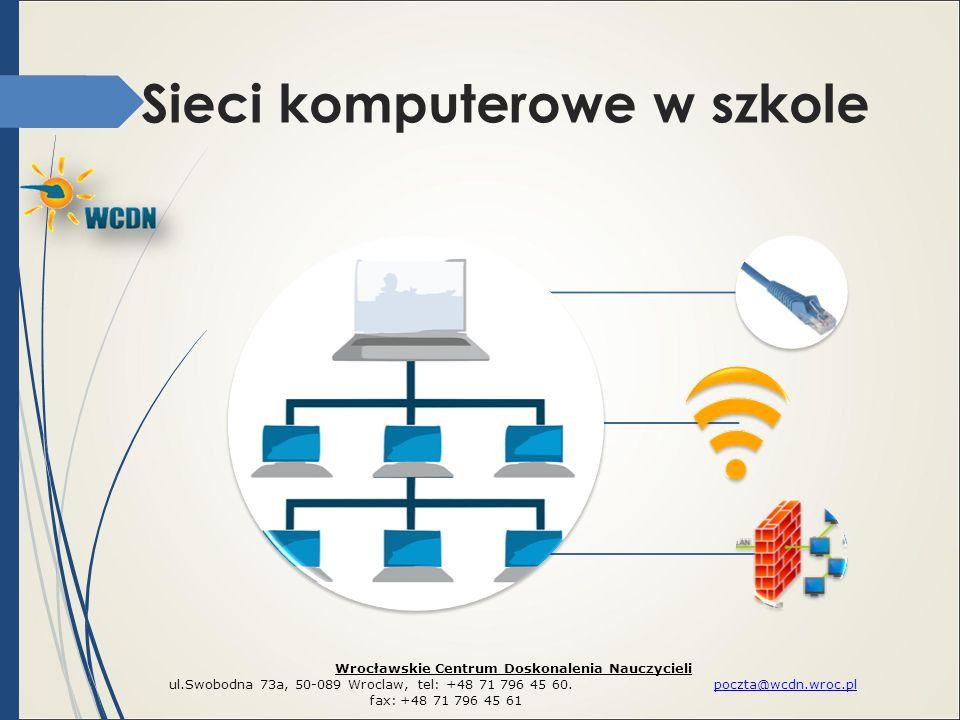 Sieci komputerowe w szkole Wrocławskie Centrum Doskonalenia Nauczycieli ul.Swobodna 73a, 50-089 Wroclaw, tel: +48 71 796 45 60. poczta@wcdn.wroc.plpoc