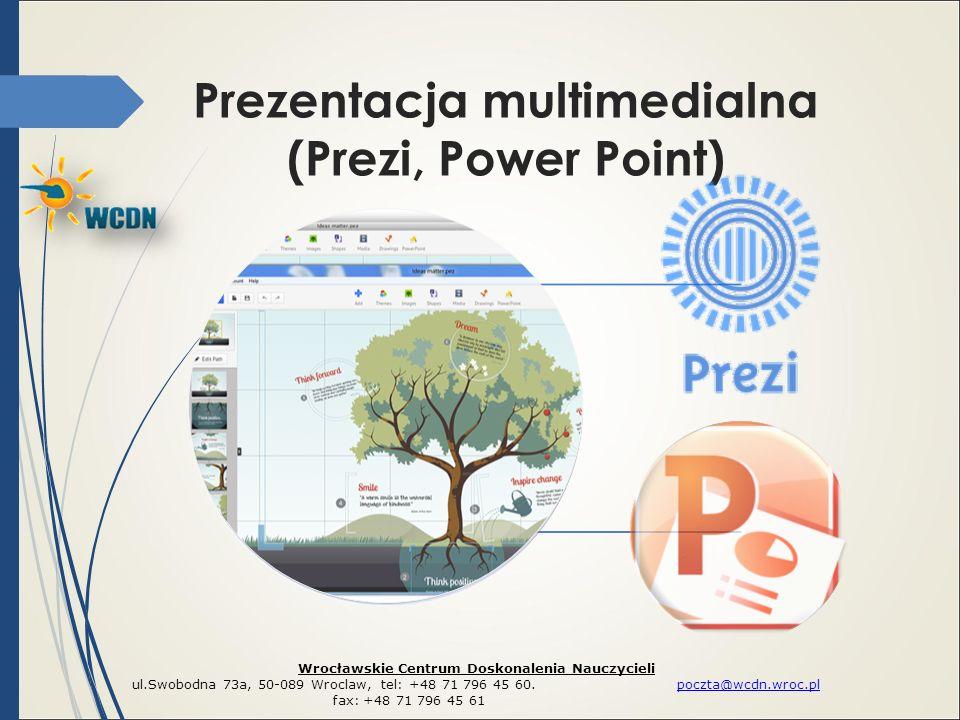 Prezentacja multimedialna (Prezi, Power Point) Wrocławskie Centrum Doskonalenia Nauczycieli ul.Swobodna 73a, 50-089 Wroclaw, tel: +48 71 796 45 60. po