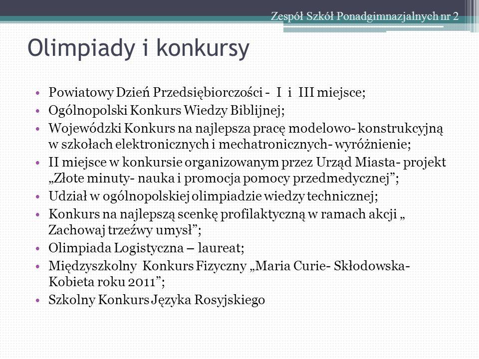 Olimpiady i konkursy Zespół Szkół Ponadgimnazjalnych nr 2 Powiatowy Dzień Przedsiębiorczości - I i III miejsce; Ogólnopolski Konkurs Wiedzy Biblijnej;