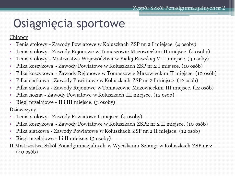 Osiągnięcia sportowe Zespół Szkół Ponadgimnazjalnych nr 2 Chłopcy Tenis stołowy - Zawody Powiatowe w Koluszkach ZSP nr.2 I miejsce. (4 osoby) Tenis st