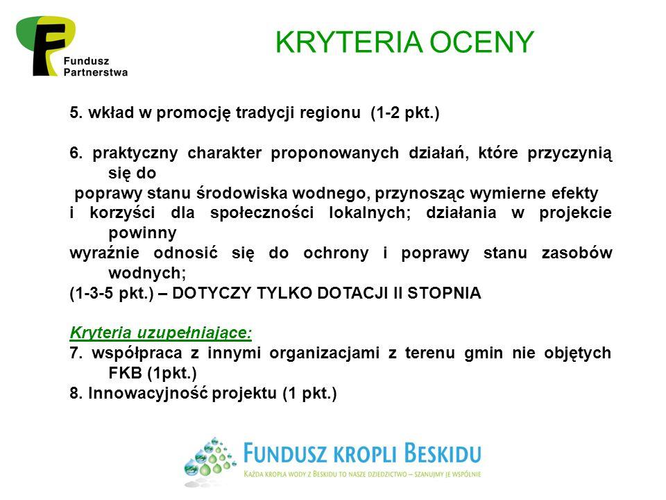 KRYTERIA OCENY 5.wkład w promocję tradycji regionu (1-2 pkt.) 6.