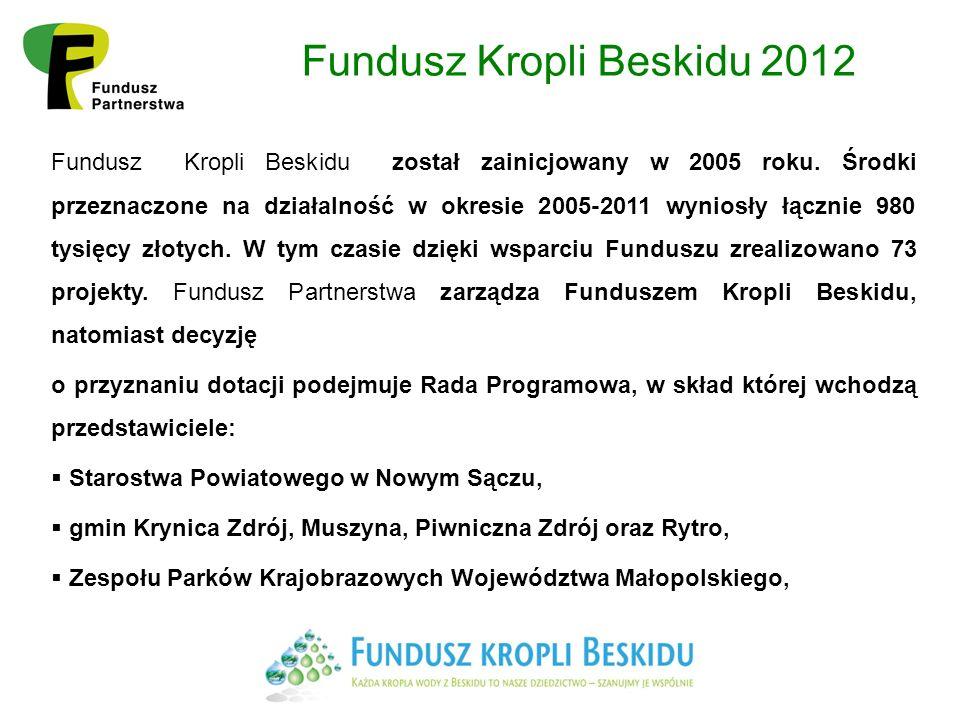 Fundusz Kropli Beskidu 2012 Fundusz Kropli Beskidu został zainicjowany w 2005 roku.