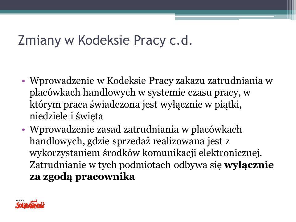 Zmiany w Kodeksie Pracy c.d.