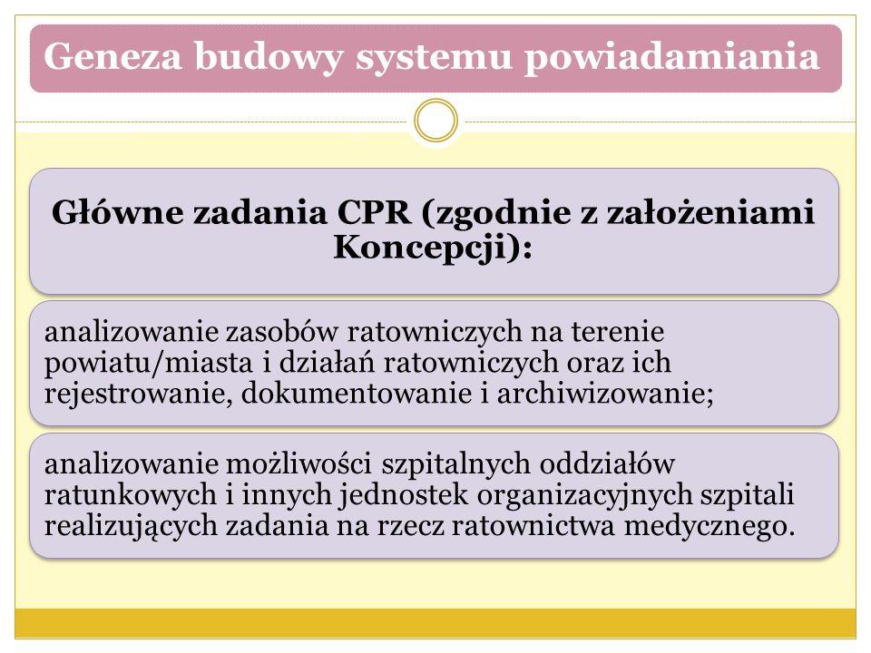 Geneza budowy systemu powiadamiania Główne zadania CPR (zgodnie z założeniami Koncepcji): analizowanie zasobów ratowniczych na terenie powiatu/miasta
