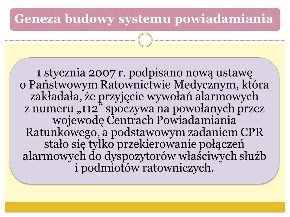 Geneza budowy systemu powiadamiania 1 stycznia 2007 r. podpisano nową ustawę o Państwowym Ratownictwie Medycznym, która zakładała, że przyjęcie wywoła