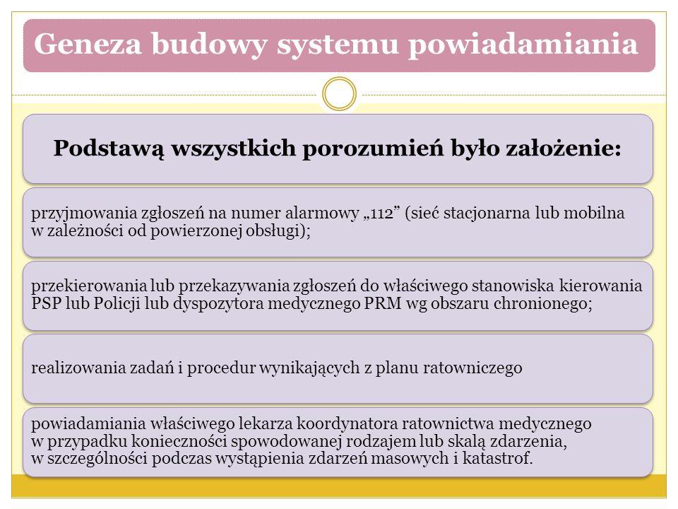 """Geneza budowy systemu powiadamiania Podstawą wszystkich porozumień było założenie: przyjmowania zgłoszeń na numer alarmowy """"112 (sieć stacjonarna lub mobilna w zależności od powierzonej obsługi); przekierowania lub przekazywania zgłoszeń do właściwego stanowiska kierowania PSP lub Policji lub dyspozytora medycznego PRM wg obszaru chronionego; realizowania zadań i procedur wynikających z planu ratowniczego powiadamiania właściwego lekarza koordynatora ratownictwa medycznego w przypadku konieczności spowodowanej rodzajem lub skalą zdarzenia, w szczególności podczas wystąpienia zdarzeń masowych i katastrof."""