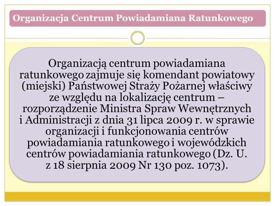 Organizacja Centrum Powiadamiana Ratunkowego Organizacją centrum powiadamiana ratunkowego zajmuje się komendant powiatowy (miejski) Państwowej Straży