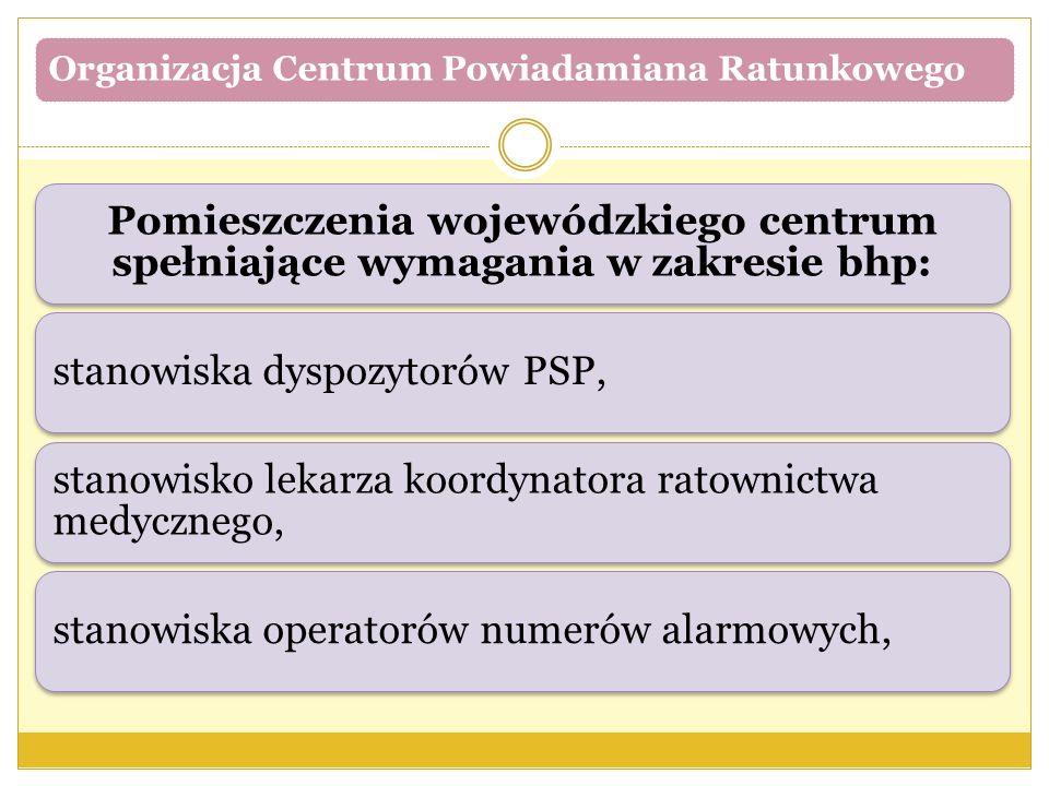 Organizacja Centrum Powiadamiana Ratunkowego Pomieszczenia wojewódzkiego centrum spełniające wymagania w zakresie bhp: stanowiska dyspozytorów PSP, st