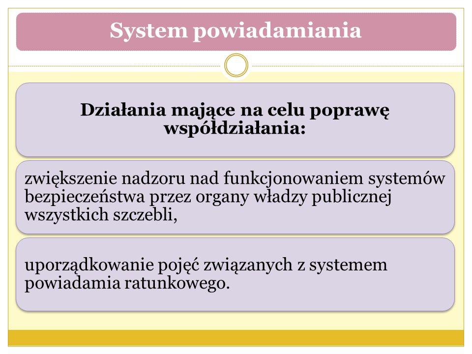 Działania mające na celu poprawę współdziałania: zwiększenie nadzoru nad funkcjonowaniem systemów bezpieczeństwa przez organy władzy publicznej wszystkich szczebli, uporządkowanie pojęć związanych z systemem powiadamia ratunkowego.
