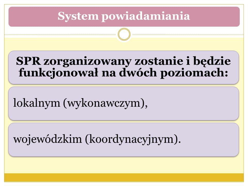 SPR zorganizowany zostanie i będzie funkcjonował na dwóch poziomach: lokalnym (wykonawczym),wojewódzkim (koordynacyjnym). System powiadamiania
