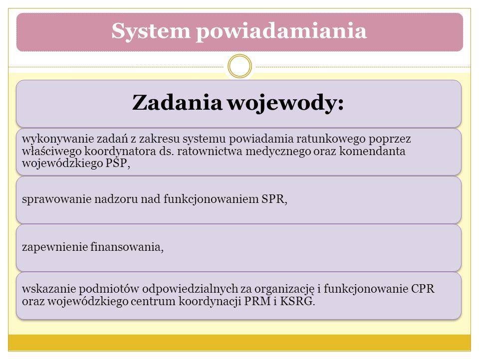 Zadania wojewody: wykonywanie zadań z zakresu systemu powiadamia ratunkowego poprzez właściwego koordynatora ds.