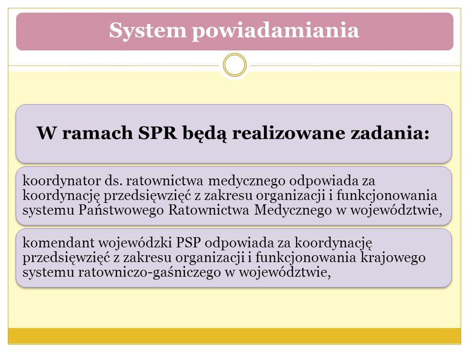 W ramach SPR będą realizowane zadania: koordynator ds. ratownictwa medycznego odpowiada za koordynację przedsięwzięć z zakresu organizacji i funkcjono