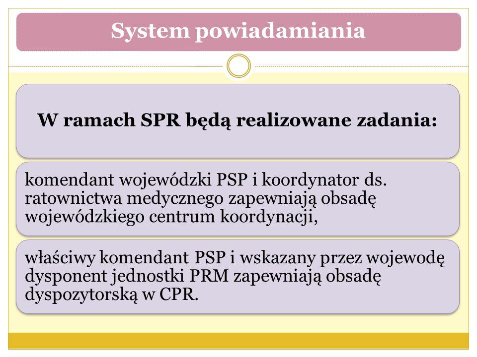 W ramach SPR będą realizowane zadania: komendant wojewódzki PSP i koordynator ds. ratownictwa medycznego zapewniają obsadę wojewódzkiego centrum koord