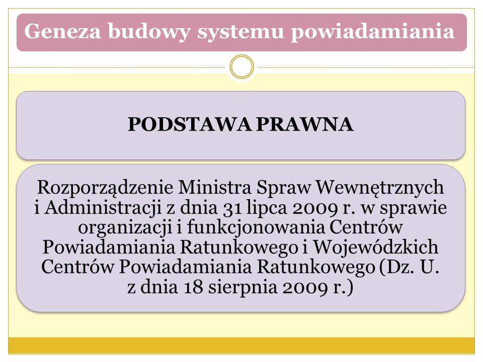 Geneza budowy systemu powiadamiania PODSTAWA PRAWNA Rozporządzenie Ministra Spraw Wewnętrznych i Administracji z dnia 31 lipca 2009 r. w sprawie organ