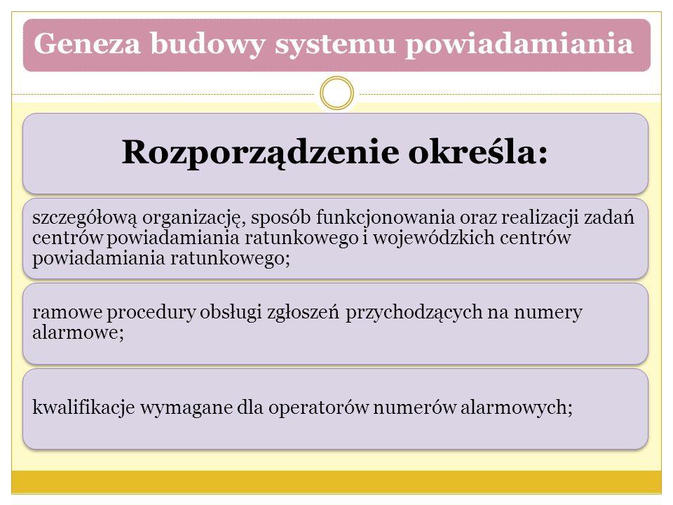 Geneza budowy systemu powiadamiania Rozporządzenie określa: szczegółową organizację, sposób funkcjonowania oraz realizacji zadań centrów powiadamiania