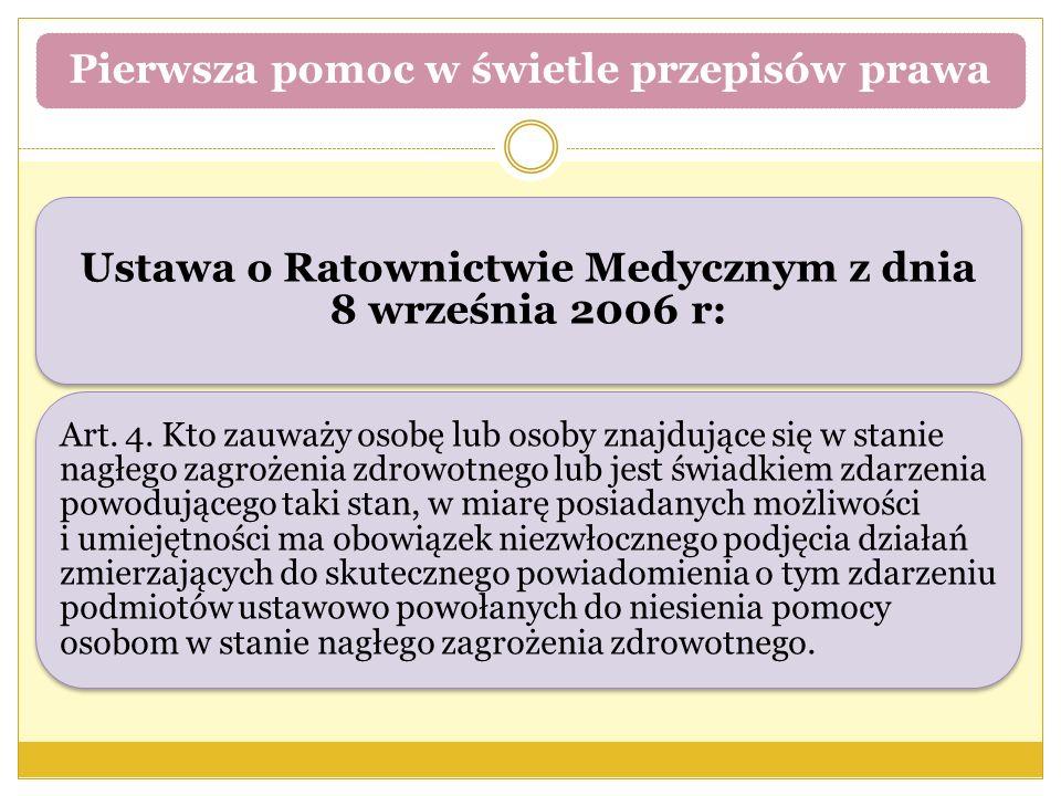Ustawa o Ratownictwie Medycznym z dnia 8 września 2006 r: Art. 4. Kto zauważy osobę lub osoby znajdujące się w stanie nagłego zagrożenia zdrowotnego l