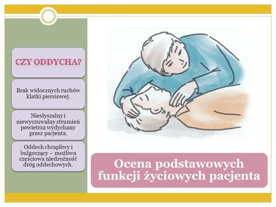 Ocena podstawowych funkcji życiowych pacjenta Brak widocznych ruchów klatki piersiowej. Niesłyszalny i niewyczuwalny strumień powietrza wydychany prze