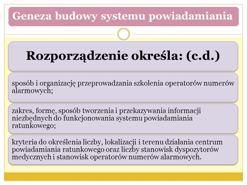 Geneza budowy systemu powiadamiania Rozporządzenie określa: (c.d.) sposób i organizację przeprowadzania szkolenia operatorów numerów alarmowych; zakre