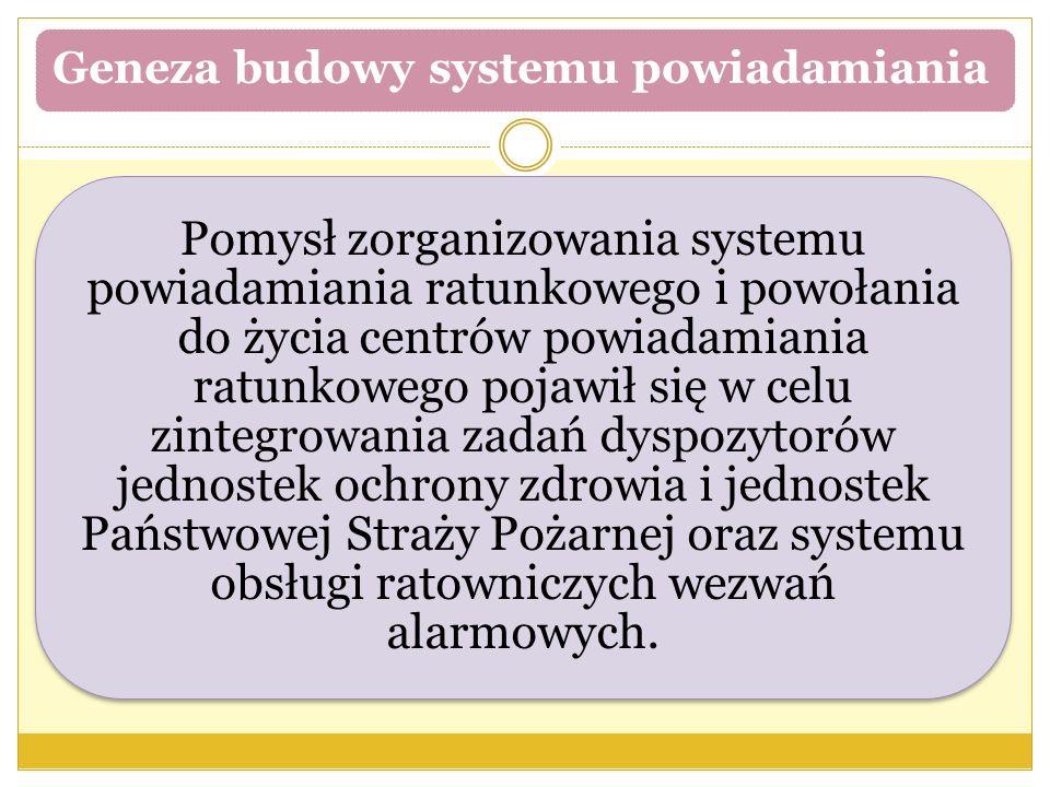 Geneza budowy systemu powiadamiania Pomysł zorganizowania systemu powiadamiania ratunkowego i powołania do życia centrów powiadamiania ratunkowego poj