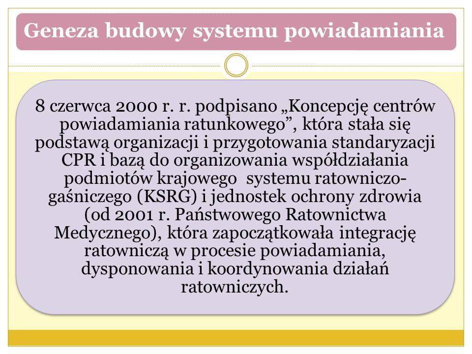 """Geneza budowy systemu powiadamiania 8 czerwca 2000 r. r. podpisano """"Koncepcję centrów powiadamiania ratunkowego"""", która stała się podstawą organizacji"""