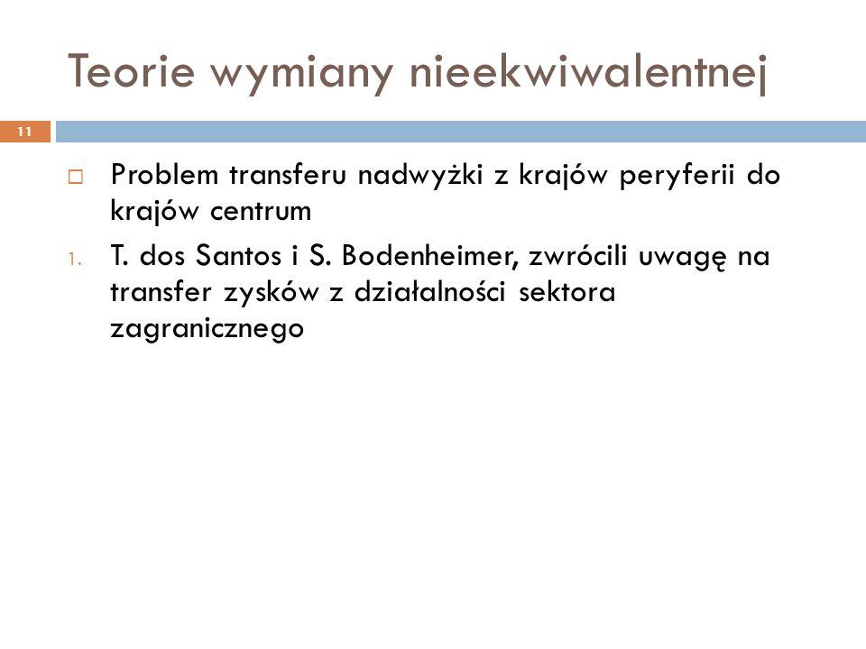 Teorie wymiany nieekwiwalentnej  Problem transferu nadwyżki z krajów peryferii do krajów centrum 1.