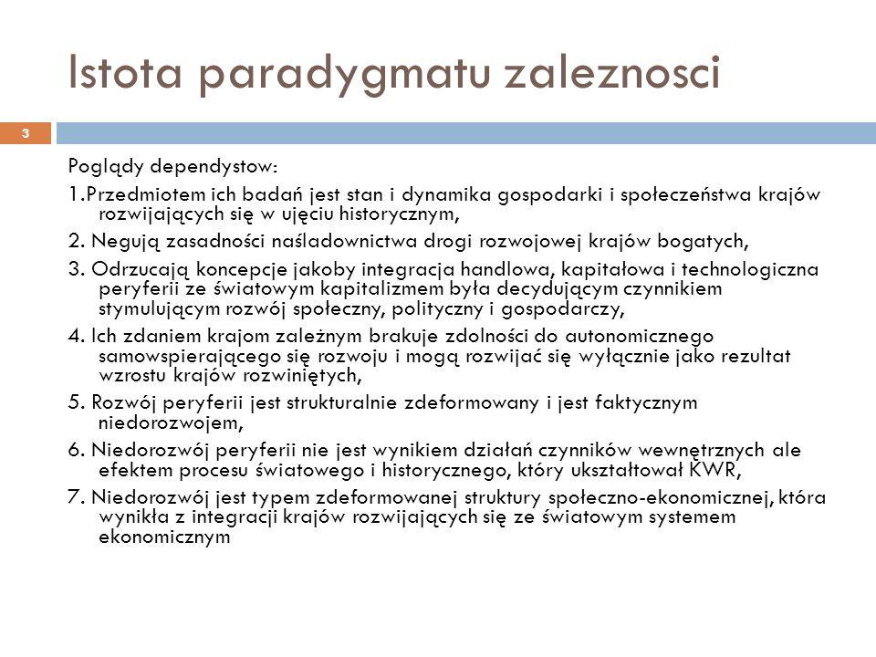 Istota paradygmatu zaleznosci Poglądy dependystow: 1.Przedmiotem ich badań jest stan i dynamika gospodarki i społeczeństwa krajów rozwijających się w ujęciu historycznym, 2.