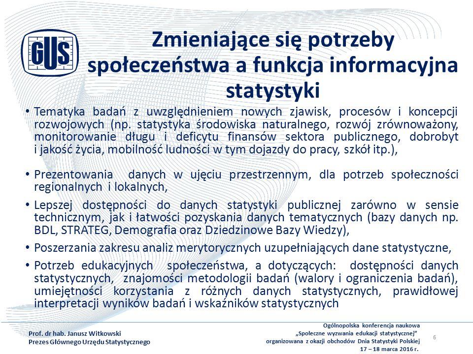 Zmieniające się potrzeby społeczeństwa a funkcja informacyjna statystyki Tematyka badań z uwzględnieniem nowych zjawisk, procesów i koncepcji rozwojowych (np.