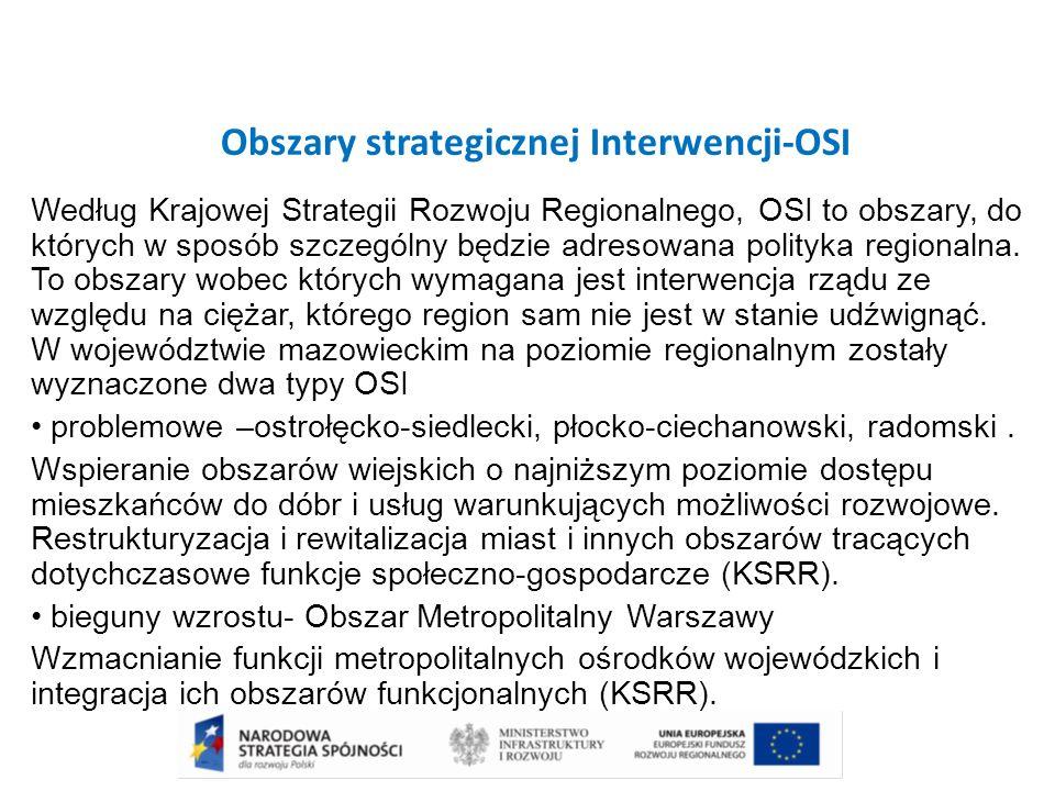 Obszary strategicznej Interwencji-OSI Według Krajowej Strategii Rozwoju Regionalnego, OSI to obszary, do których w sposób szczególny będzie adresowana polityka regionalna.