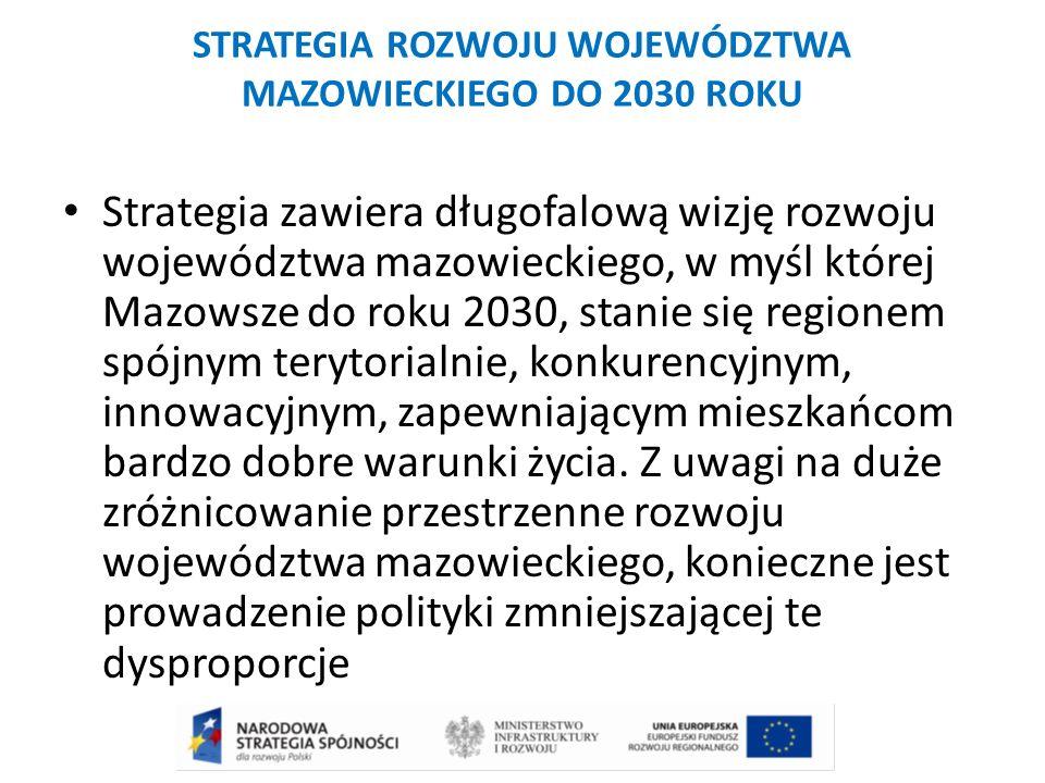 STRATEGIA ROZWOJU WOJEWÓDZTWA MAZOWIECKIEGO DO 2030 ROKU Strategia zawiera długofalową wizję rozwoju województwa mazowieckiego, w myśl której Mazowsze